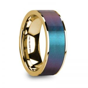 14k Y Gold Men's Diamond Wedding Ring with Color Change Inlay