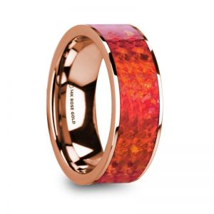 14k Rose Gold Men's Diamond Wedding Ring with Red opal Inlay