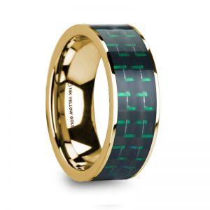 HaliSaros - 14k Yellow Gold Men's Ring with Diamond - 8mm