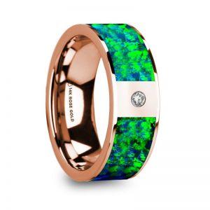 14k Rose Gold Men's Diamond Wedding Ring with Blue Opal Inlay