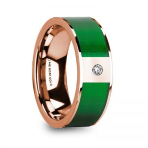 14k Rose Gold Men's Diamond Wedding Ring with Inlay
