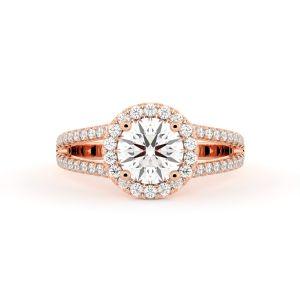 Split Shank Round Halo Diamond Engagement Ring
