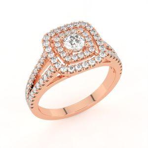 Split Shank Halo Diamond Engagement Ring